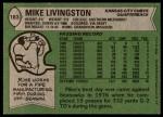1978 Topps #183  Mike Livingston  Back Thumbnail