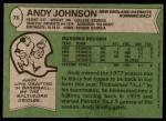 1978 Topps #76  Andy Johnson  Back Thumbnail