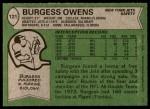1978 Topps #121  Burgess Owens  Back Thumbnail