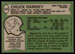 1978 Topps #186  Chuck Ramsey  Back Thumbnail