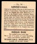 1947 Goudey Indian Gum #94   Minnevana Back Thumbnail