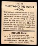 1947 Goudey Indian Gum #91   Throwing Putch-Kohu Back Thumbnail