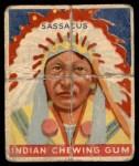 1947 Goudey Indian Gum #96   Sassacus Front Thumbnail