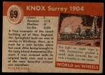 1954 Topps World on Wheels #69   Knox Surrey 1904 Back Thumbnail