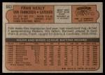 1972 Topps #663  Fran Healy  Back Thumbnail