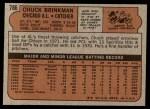 1972 Topps #786  Chuck Brinkman  Back Thumbnail