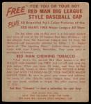 1955 Red Man #14 AL Early Wynn  Back Thumbnail