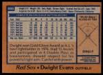 1978 Topps #695  Dwight Evans  Back Thumbnail