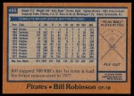 1978 Topps #455  Bill Robinson  Back Thumbnail
