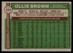 1976 Topps #223  Ollie Brown  Back Thumbnail