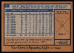 1978 Burger King #9  Sparky Lyle  Back Thumbnail