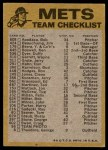 1974 Topps Red Team Checklist   Mets Team Checklist Back Thumbnail