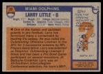 1976 Topps #33  Larry Little  Back Thumbnail