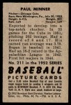1952 Bowman #211  Paul Minner  Back Thumbnail