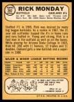 1968 Topps #282  Rick Monday  Back Thumbnail