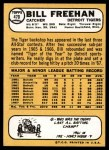 1968 Topps #470  Bill Freehan  Back Thumbnail