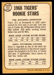 1968 Topps #113   -  Tom Matchick / Daryl Patterson Tigers Rookies Back Thumbnail