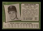 1971 Topps #607  Paul Ratliff  Back Thumbnail