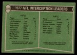 1978 Topps #335   -  Lyle Blackwood / Rolland Lawrence Interception Leaders Back Thumbnail