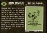 1969 Topps #87  Don Brumm  Back Thumbnail