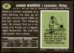 1969 Topps #57  Lonnie Warwick  Back Thumbnail
