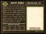 1969 Topps #193  Matt Snell  Back Thumbnail