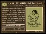 1969 Topps #79  Charley King  Back Thumbnail