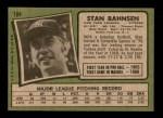 1971 Topps #184  Stan Bahnsen  Back Thumbnail