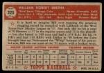 1952 Topps #325  Bill Serena  Back Thumbnail