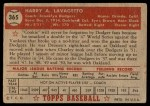 1952 Topps #365  Cookie Lavagetto  Back Thumbnail