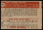 1952 Topps #366  Dave Madison  Back Thumbnail