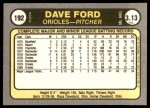 1981 Fleer #192  Dave Ford  Back Thumbnail