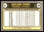 1981 Fleer #91  Gaylord Perry  Back Thumbnail