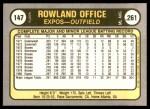1981 Fleer #147  Rowland Office  Back Thumbnail