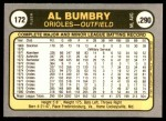 1981 Fleer #172  Al Bumbry  Back Thumbnail