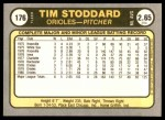 1981 Fleer #176  Tim Stoddard  Back Thumbnail