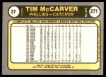 1981 Fleer #27  Tim McCarver  Back Thumbnail