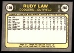 1981 Fleer #139  Rudy Law  Back Thumbnail
