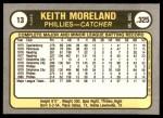 1981 Fleer #13  Keith Moreland  Back Thumbnail
