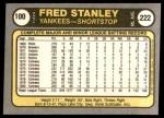 1981 Fleer #100  Fred Stanley  Back Thumbnail
