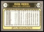1981 Fleer #11  Ron Reed  Back Thumbnail