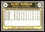 1981 Fleer #45  Clint Hurdle  Back Thumbnail