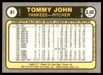 1981 Fleer #81  Tommy John  Back Thumbnail