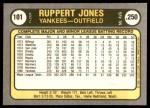1981 Fleer #101  Ruppert Jones  Back Thumbnail