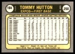 1981 Fleer #164  Tommy Hutton  Back Thumbnail