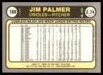 1981 Fleer #169  Jim Palmer  Back Thumbnail