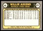 1981 Fleer #43  Willie Aikens  Back Thumbnail