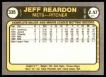 1981 Fleer #335  Jeff Reardon  Back Thumbnail