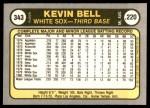 1981 Fleer #343  Kevin Bell  Back Thumbnail