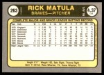 1981 Fleer #263  Rick Matula  Back Thumbnail